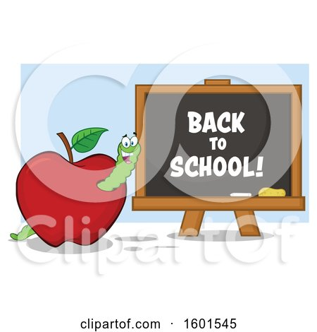 Clipart of a Cartoon Worm in an Apple by a Back to School Black Board - Royalty Free Vector Illustration by Hit Toon