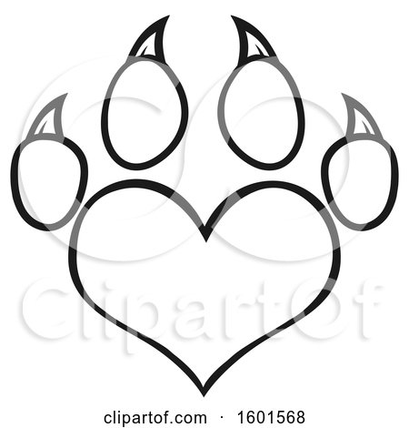 Clipart of a Lineart Heart Shaped Paw Print - Royalty Free Vector Illustration by Hit Toon