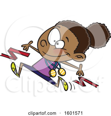 Clipart of a Cartoon Black Girl Athlete Breaking Through a Finish Line - Royalty Free Vector Illustration by toonaday