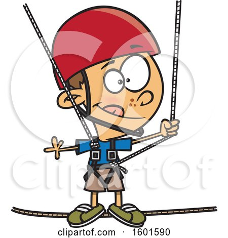 Clipart of a Cartoon White Boy Taking a Ropes Course - Royalty Free Vector Illustration by toonaday