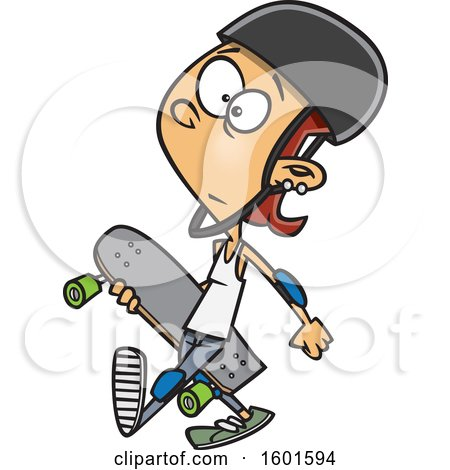 Clipart of a Cartoon White Teenage Skater Girl Carrying a Board - Royalty Free Vector Illustration by toonaday