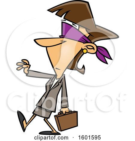Clipart of a Cartoon Blindfolded White Business Woman Walking with a Hand out - Royalty Free Vector Illustration by toonaday