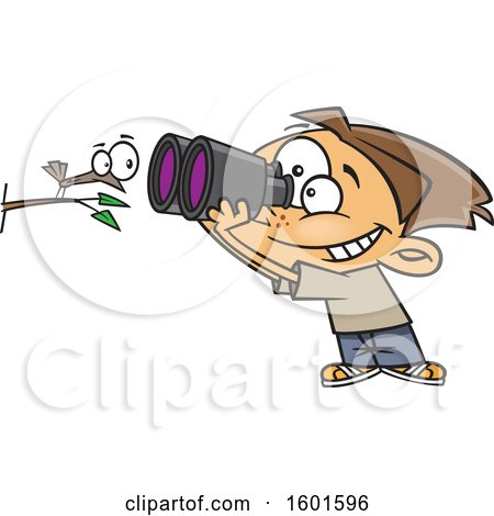 Clipart of a Cartoon White Boy Viewing a Bird up Close with Binoculars - Royalty Free Vector Illustration by toonaday