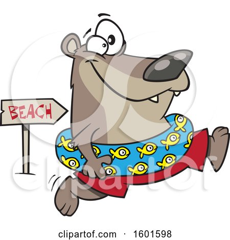Clipart of a Cartoon Summer Bear Wearing an Inner Tube and Running to the Beach - Royalty Free Vector Illustration by toonaday