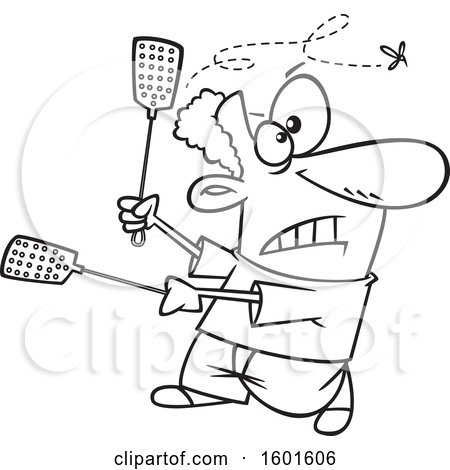 Clipart of a Cartoon Lineart Black Man Using Two Swatters to Try to Kill a Fly - Royalty Free Vector Illustration by toonaday