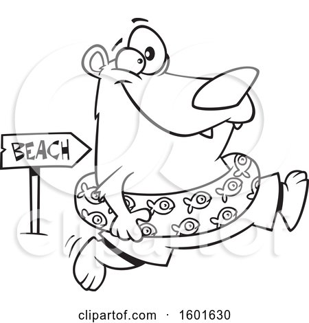 Clipart of a Cartoon Lineart Summer Bear Wearing an Inner Tube and Running to the Beach - Royalty Free Vector Illustration by toonaday