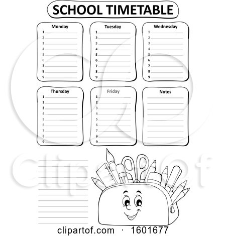 Clipart of a Lineart Pencil Pouch Character Full of School Supplies on a Timetable - Royalty Free Vector Illustration by visekart