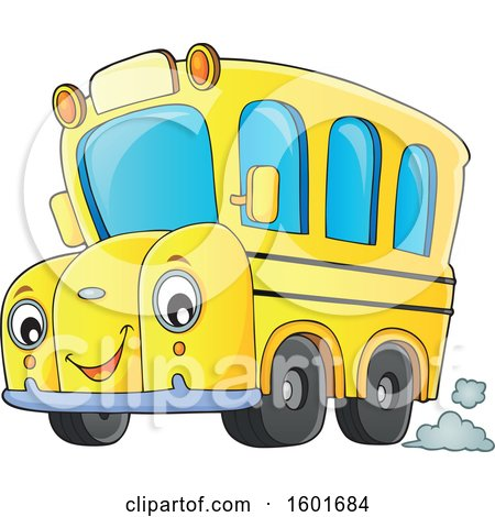Clipart of a Cartoon Happy Yellow School Bus Mascot Character - Royalty Free Vector Illustration by visekart