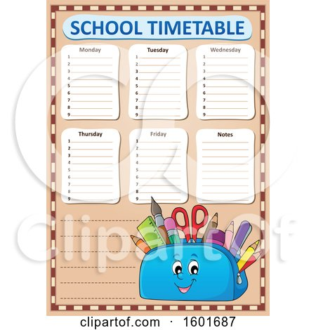 Clipart of a Pencil Pouch Character Full of School Supplies on a Timetable - Royalty Free Vector Illustration by visekart