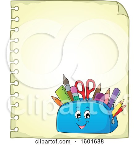 Clipart of a Pencil Pouch Character Full of School Supplies on a Sheet of Paper - Royalty Free Vector Illustration by visekart