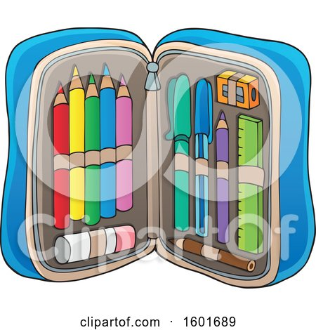 Clipart of a Pencil Pouch Full of School Supplies - Royalty Free Vector Illustration by visekart