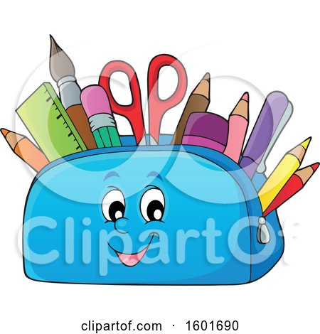 Clipart of a Pencil Pouch Character Full of School Supplies - Royalty Free Vector Illustration by visekart
