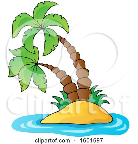 Clipart of a Tropical Island with Palm Trees and Blue Water - Royalty Free Vector Illustration by visekart