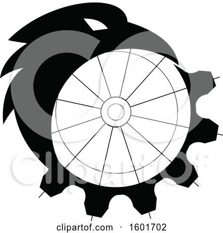 Clipart of a Black and White Crow or Raven Bird Morphing into a Gear - Royalty Free Vector Illustration by patrimonio