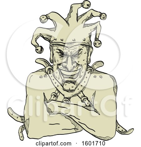 Clipart of a Sketched Insane Harlequin Joker Fool Jester Wearing a Straitjacket - Royalty Free Vector Illustration by patrimonio