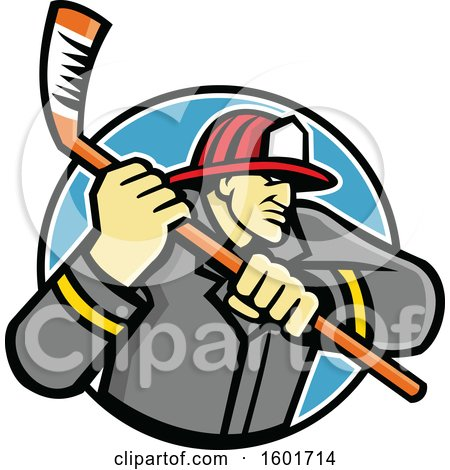 Clipart of a Tough Fire Man Wielding an Ice Hockey Stick in a Circle - Royalty Free Vector Illustration by patrimonio