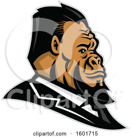 Clipart of a Well Groomed Business Gorilla Mascot Head in Profile - Royalty Free Vector Illustration by patrimonio