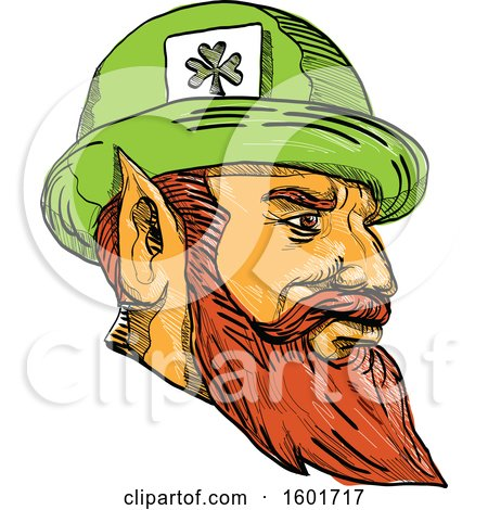 Clipart of a Sketched Leprechaun Mascot Head Wearing a Hat - Royalty Free Vector Illustration by patrimonio