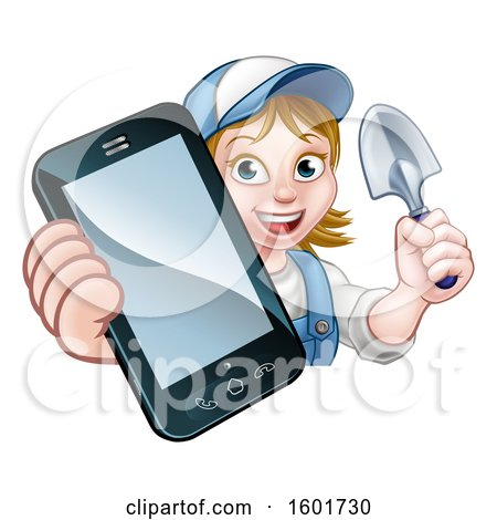 Clipart of a White Female Gardener Holding a Garden Trowel and Cell Phone over a Sign - Royalty Free Vector Illustration by AtStockIllustration