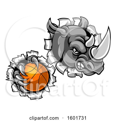 Clipart of a Tough Rhino Monster Mascot Holding a Basketball in One Clawed Paw and Breaking Through a Wall - Royalty Free Vector Illustration by AtStockIllustration