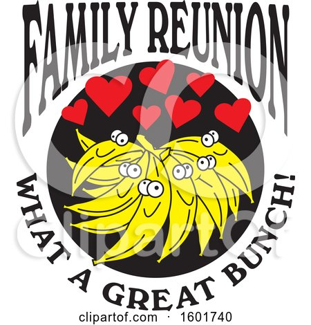 Clipart of a Family Reunion What a Great Bunch Design with Bananas and Hearts - Royalty Free Vector Illustration by Johnny Sajem