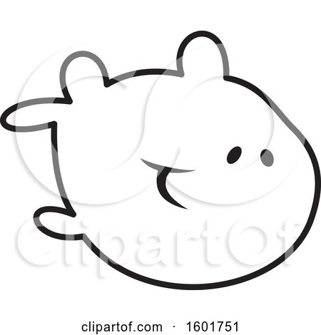 Clipart of a Black and White Fish - Royalty Free Vector Illustration by Johnny Sajem