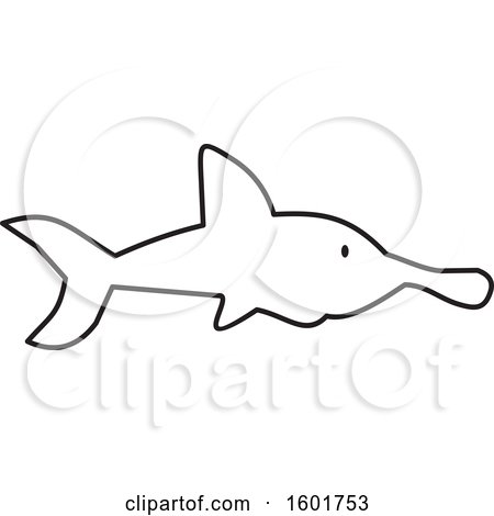 Clipart of a Black and White Shark - Royalty Free Vector Illustration by Johnny Sajem