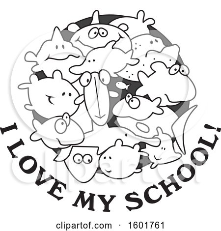 Clipart of a Grayscale Group of Fish with I Love My School Text - Royalty Free Vector Illustration by Johnny Sajem
