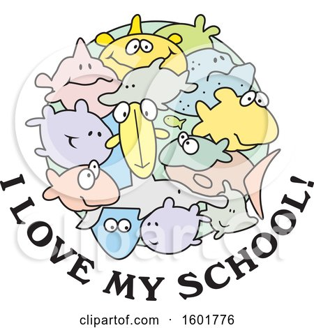 Clipart of a Group of Fish with I Love My School Text - Royalty Free Vector Illustration by Johnny Sajem