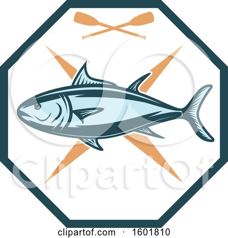 Clipart of a Tuna and Paddles Octagon - Royalty Free Vector Illustration by Vector Tradition SM