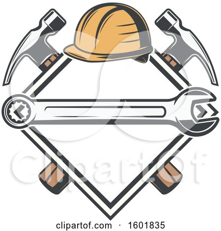 Clipart of a Diamond Frame with a Hardhat, Wrench and Crossed Hammers - Royalty Free Vector Illustration by Vector Tradition SM
