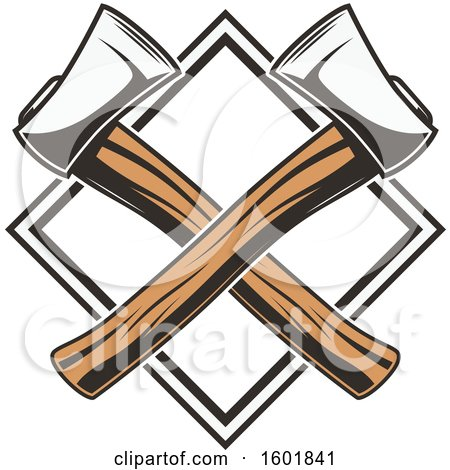 Clipart of a Diamond Frame with Crossed Axes - Royalty Free Vector Illustration by Vector Tradition SM