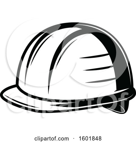 Clipart of a Black and White Hardhat - Royalty Free Vector Illustration by Vector Tradition SM