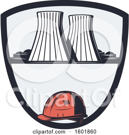 Clipart of a Power Plant and Hardhat Shield Design - Royalty Free Vector Illustration by Vector Tradition SM