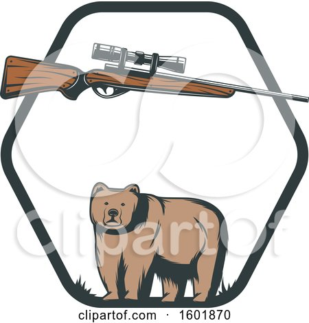 Clipart of a Hunting Rifle and Bear in a Hexagon Frame - Royalty Free Vector Illustration by Vector Tradition SM