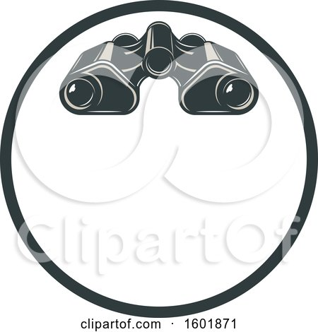 Clipart of a Round Frame and Binoculars - Royalty Free Vector Illustration by Vector Tradition SM