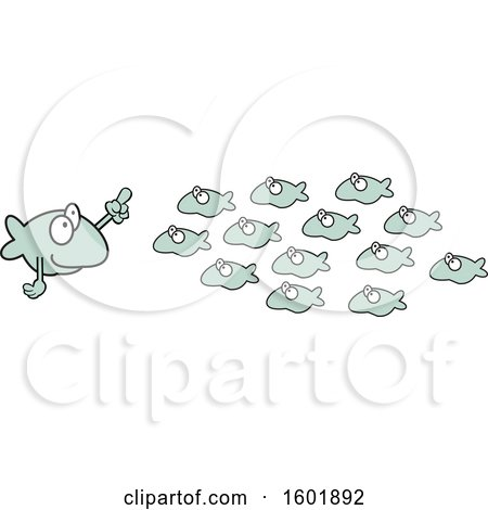 Clipart of a Teacher and School of Fish - Royalty Free Vector Illustration by Johnny Sajem