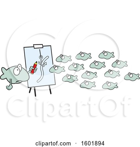 Clipart of a Teacher and School of Fish Learning About Fishing - Royalty Free Vector Illustration by Johnny Sajem