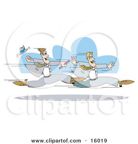 Two Businessmen Running And Passing A Baton During A Relay Race, Symbolising Teamwork Posters, Art Prints