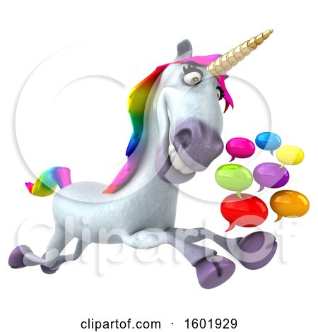 Clipart of a 3d Unicorn Holding Messages, on a White Background - Royalty Free Illustration by Julos