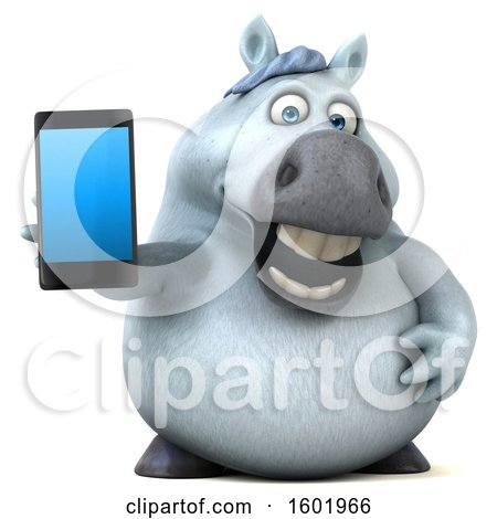 Clipart of a 3d Chubby White Horse Holding a Smart Phone, on a White Background - Royalty Free Illustration by Julos