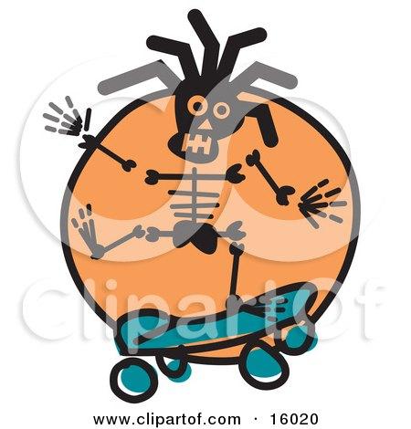 Skateboarding Skeleton Clipart Illustration by Andy Nortnik