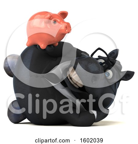 Clipart of a 3d Chubby Black Business Horse Holding a Piggy Bank, on a White Background - Royalty Free Illustration by Julos