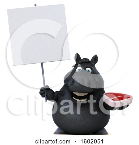 Clipart of a 3d Chubby Black Horse Holding a Steak, on a White Background - Royalty Free Illustration by Julos