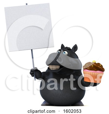 Clipart of a 3d Chubby Black Horse Holding a Cupcake, on a White Background - Royalty Free Illustration by Julos