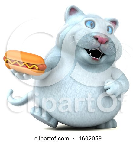 Clipart of a 3d White Kitty Cat Holding a Hot Dog, on a White Background - Royalty Free Illustration by Julos