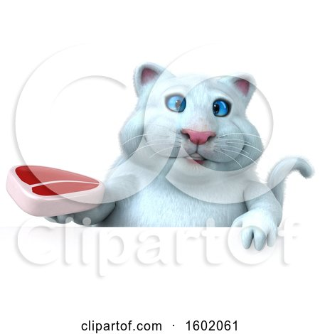 Clipart of a 3d White Kitty Cat Holding a Steak, on a White Background - Royalty Free Illustration by Julos