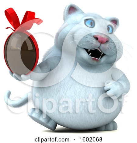 Clipart of a 3d White Kitty Cat Holding a Chocolate Egg, on a White Background - Royalty Free Illustration by Julos
