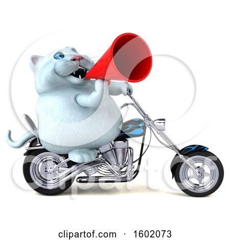Clipart of a 3d White Kitty Cat Biker Riding a Motorcycle, on a White Background - Royalty Free Illustration by Julos