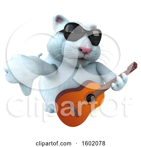 Clipart of a 3d White Kitty Cat Holding a Guitar, on a White Background - Royalty Free Illustration by Julos